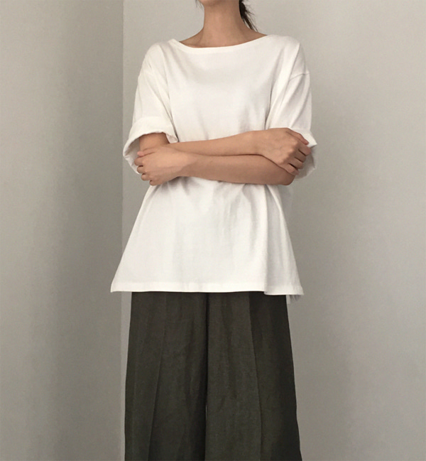 17SUMMER COTTON BOAT NECK T - IVORY
