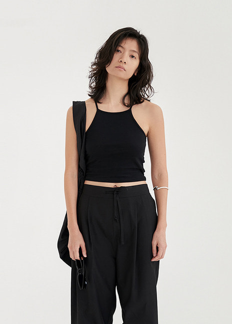 18SS CROP SLEEVELESS - BLACK